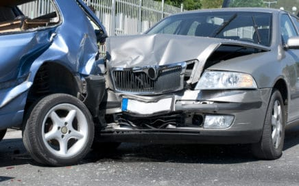 two cars damaged after an accident